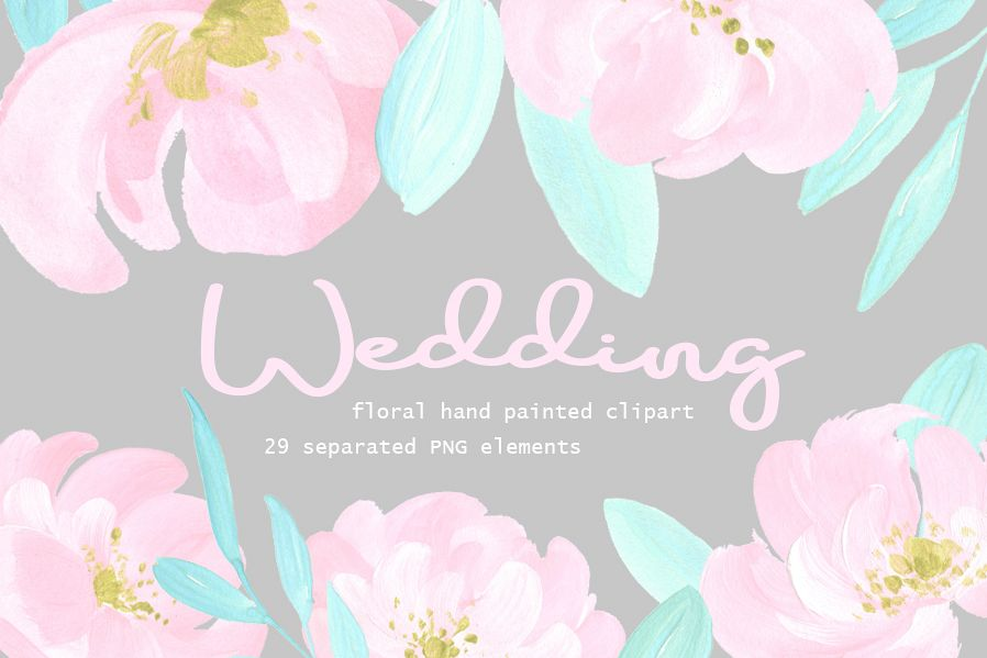 Wedding Watercolor Flowers Blush Mint Colors Example Image
