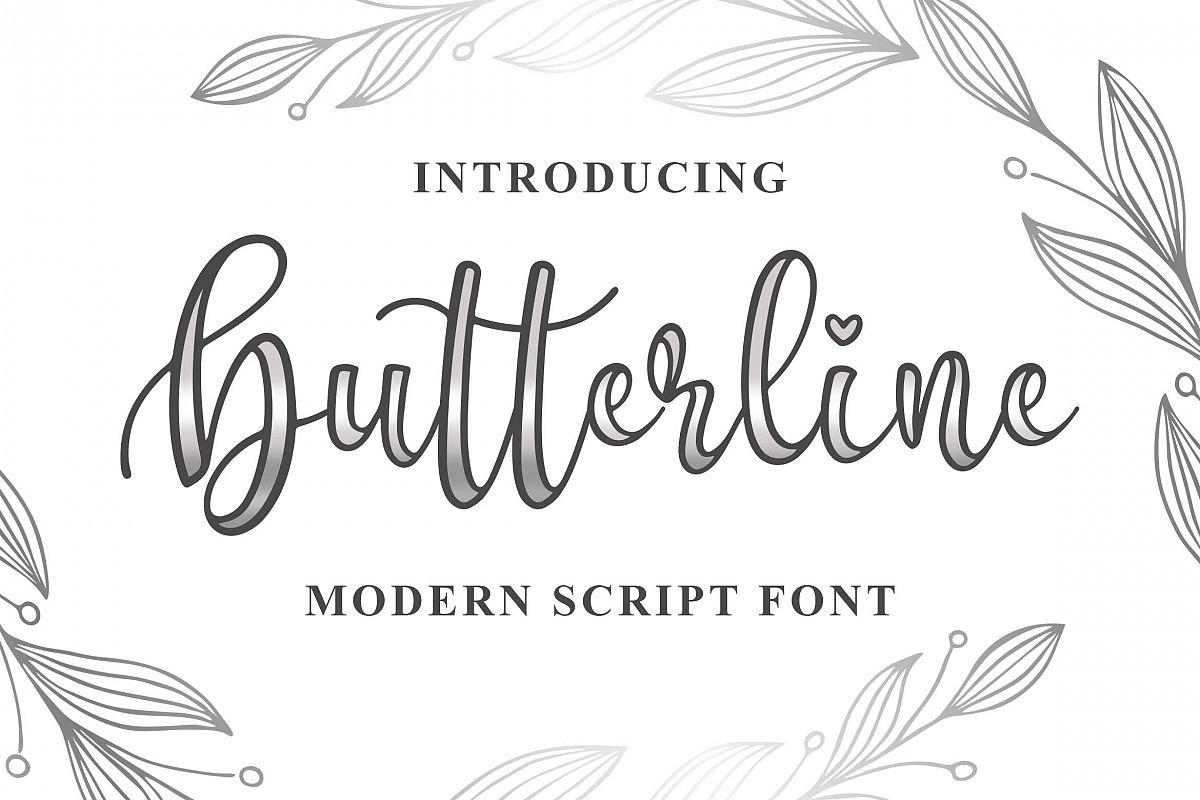 Butterline - Modern Script Font example image 1