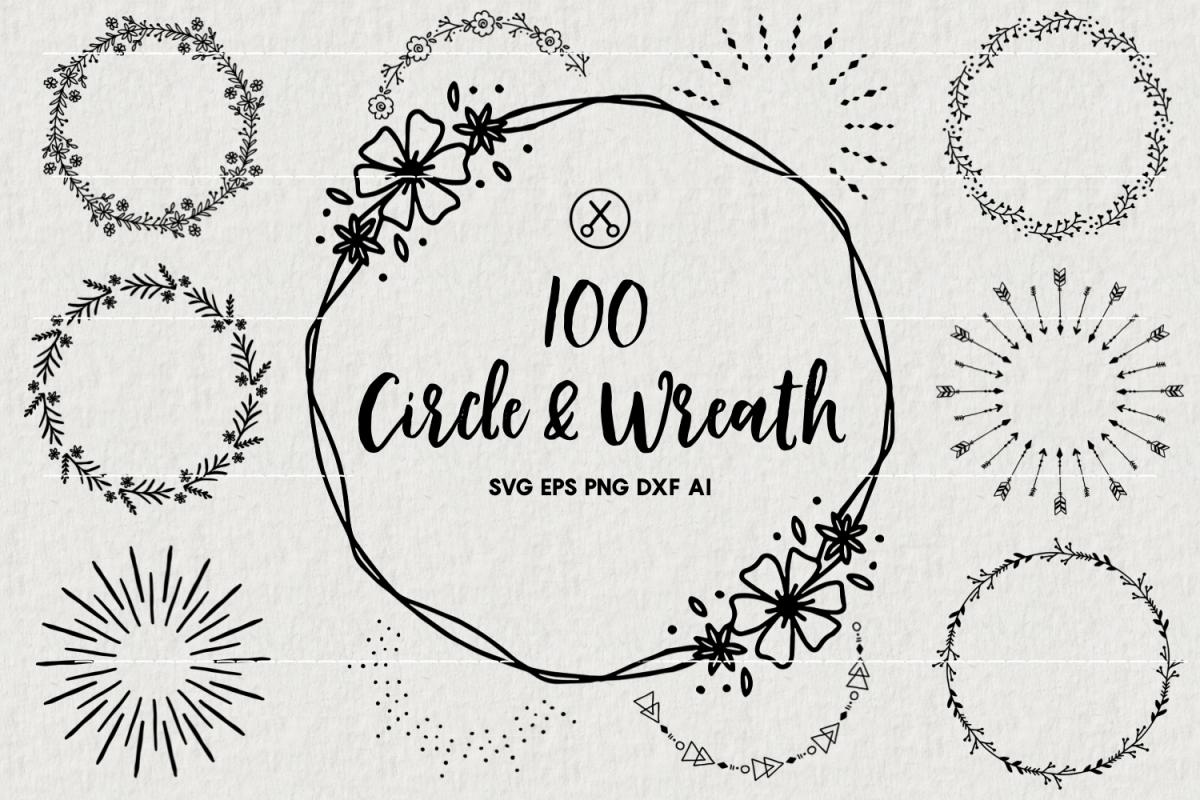 100 Wreaths and Circles SVG Bundle -VB example image 1