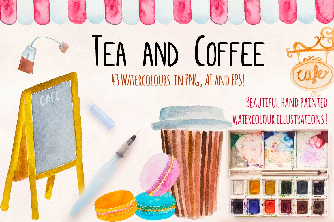 40 Tea and Coffee Watercolor Cafe Paintings example image 1