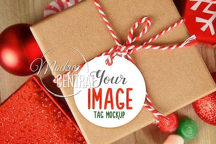 Gift Tag Present Christmas Mockup, Circle Round Tag Mock Up example image 1