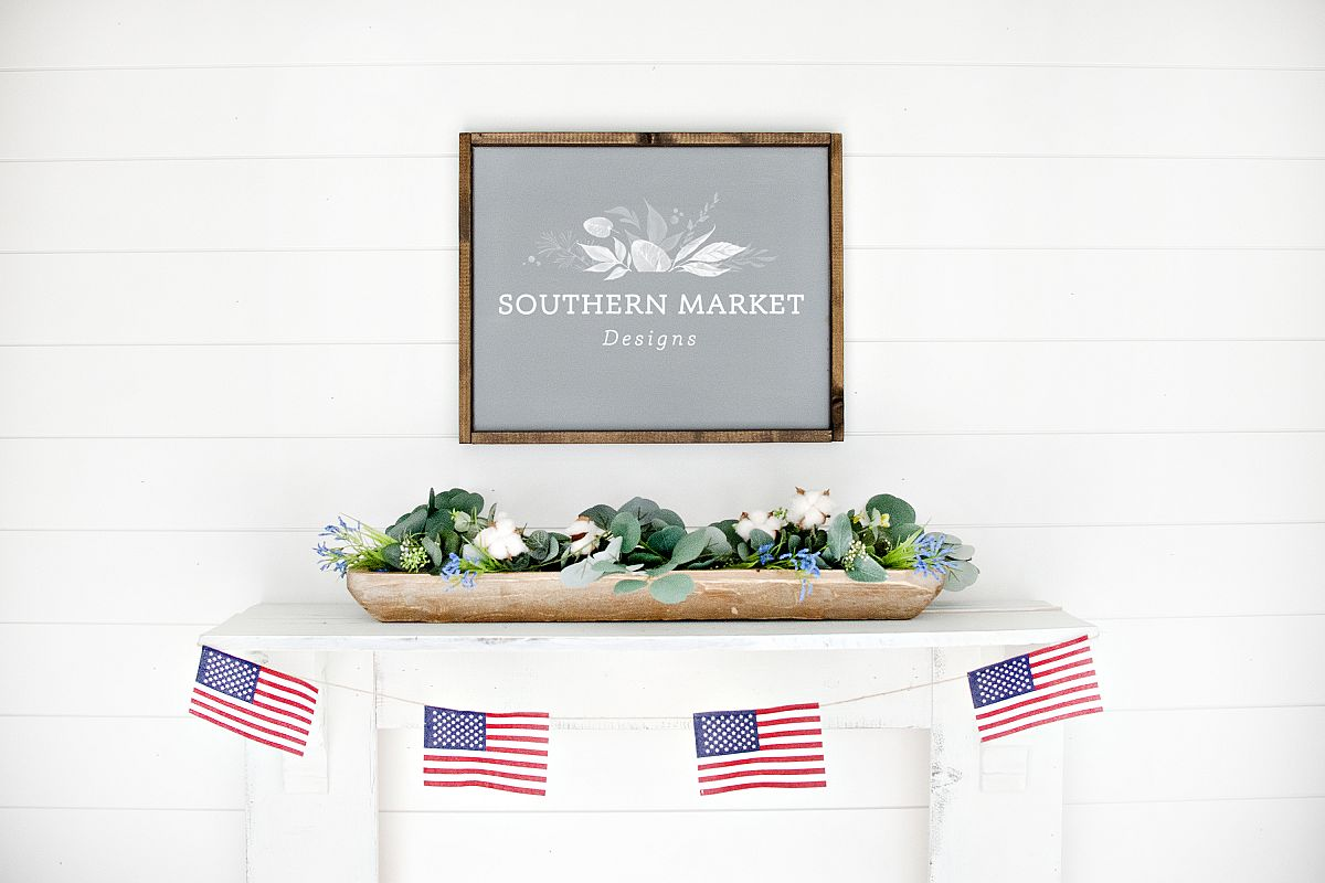 Patriotic Summer Wood 16x20 Sign Mock Up Stock Photo example image 1