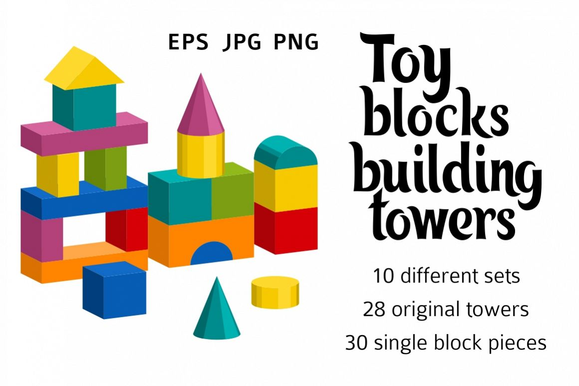 Toy blocks building towers example image 1
