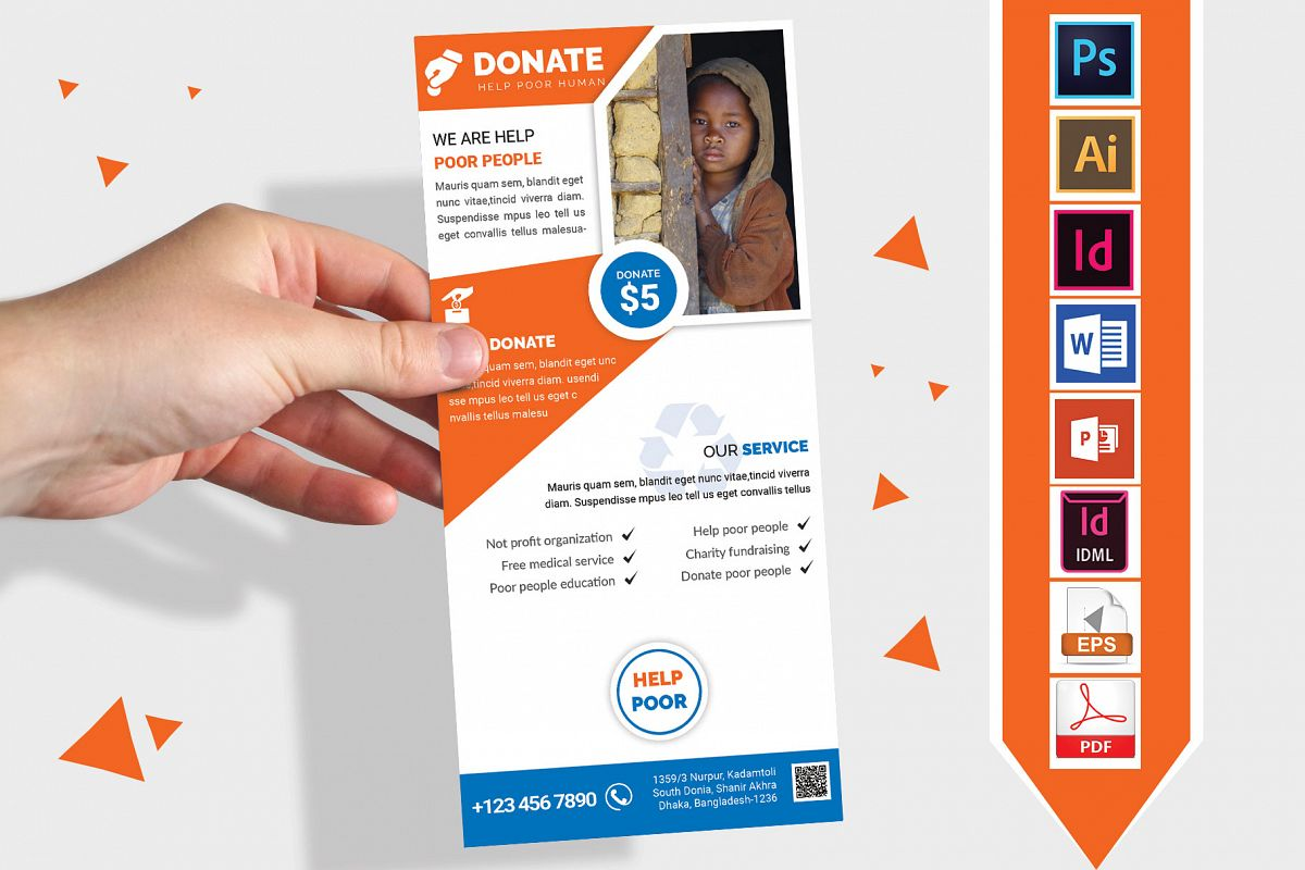 Rack Card | Charity Donation DL Flyer Vol-01 example image 1