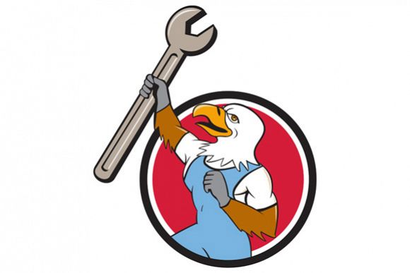 American Bald Eagle Mechanic Spanner Cartoon  example image 1