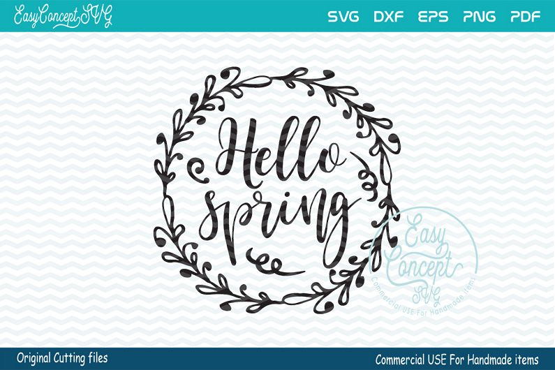 Hello Spring, Hello Spring SVG, Spring svg, Spring Sign svg, example image 1