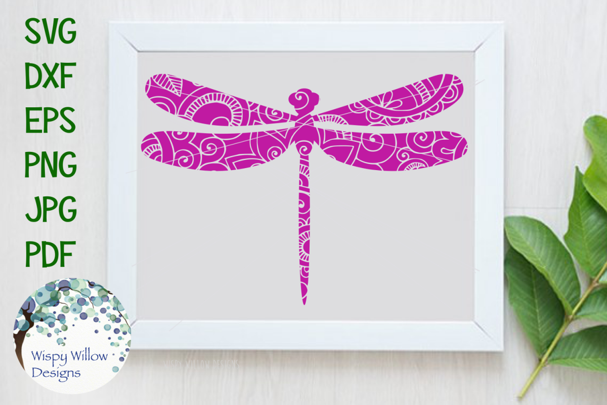 Dragonfly Zentangle Animal SVG Cut File example image 1