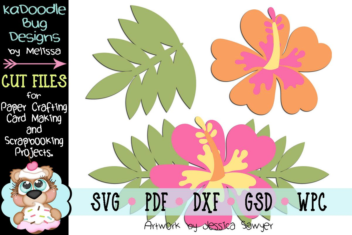 Tropical Hibiscus Cut File - SVG PDF DXF GSD WPC example image 1