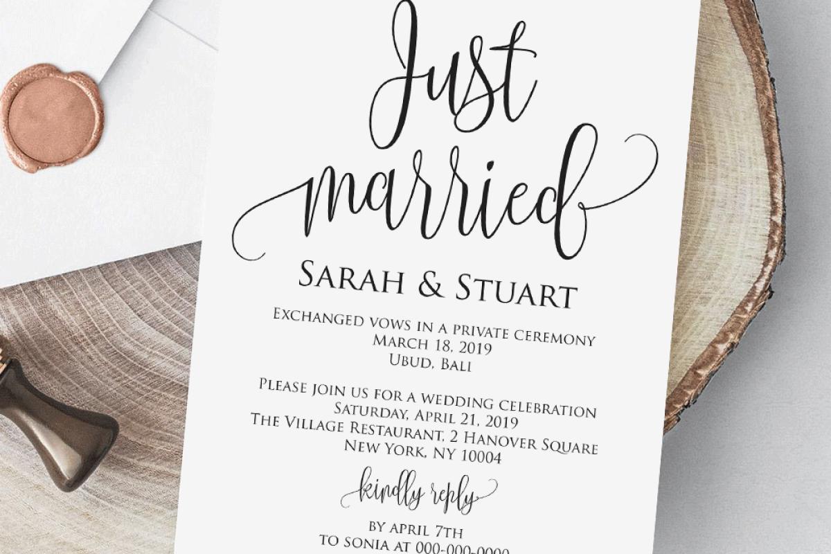 Elopement Invitation Template Download Wedding Template