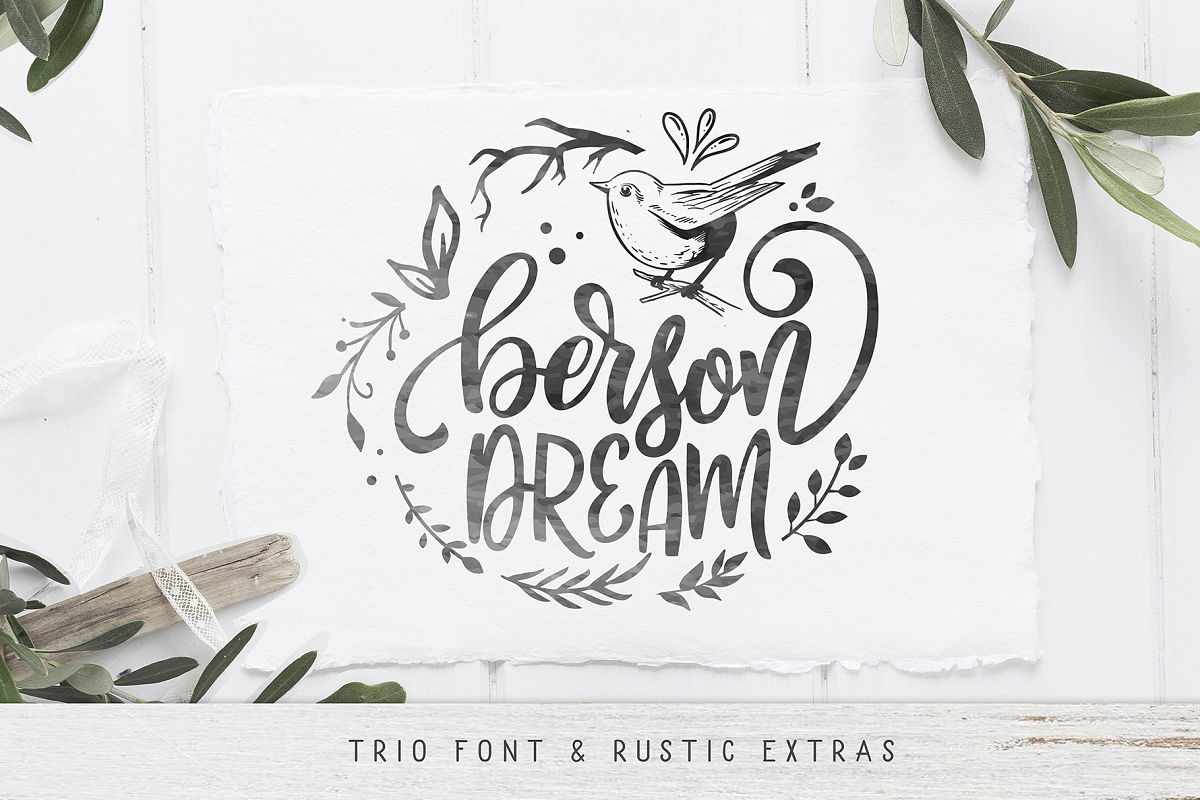 Berson Dream Font TRIO and extras example image 1