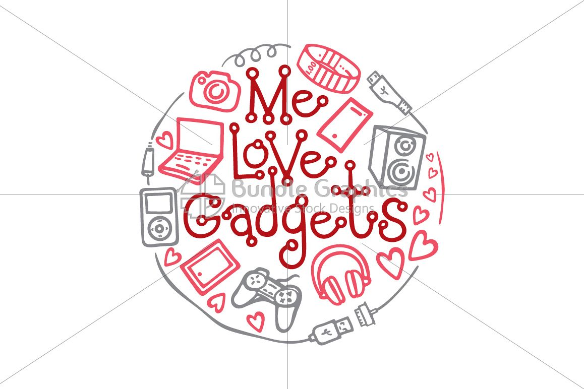 Me Love Gadgets - Vector Graphic Illustration example image 1