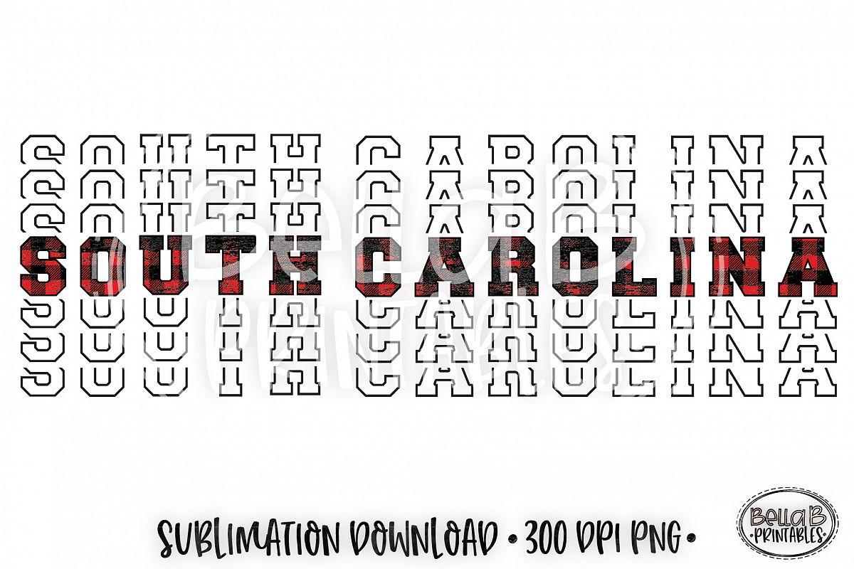 South Carolina Sublimation Design, Buffalo Plaid, Mirrored example image 1
