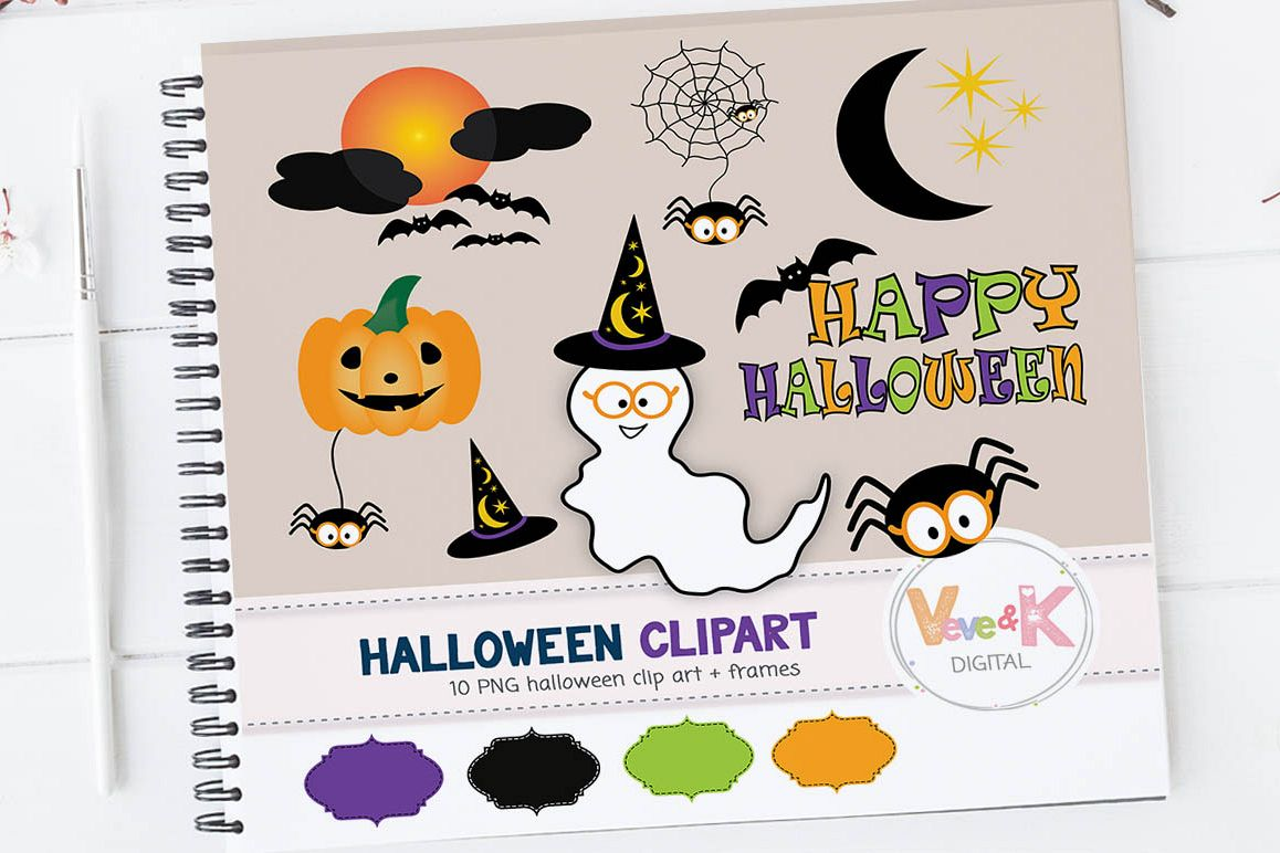 Halloween Digital Clipart, Cute Halloween Clipart, Kids Halloween Clip Art,  Happy Halloween Clipart, Spooky Clipart, Ghost, Commercial Use