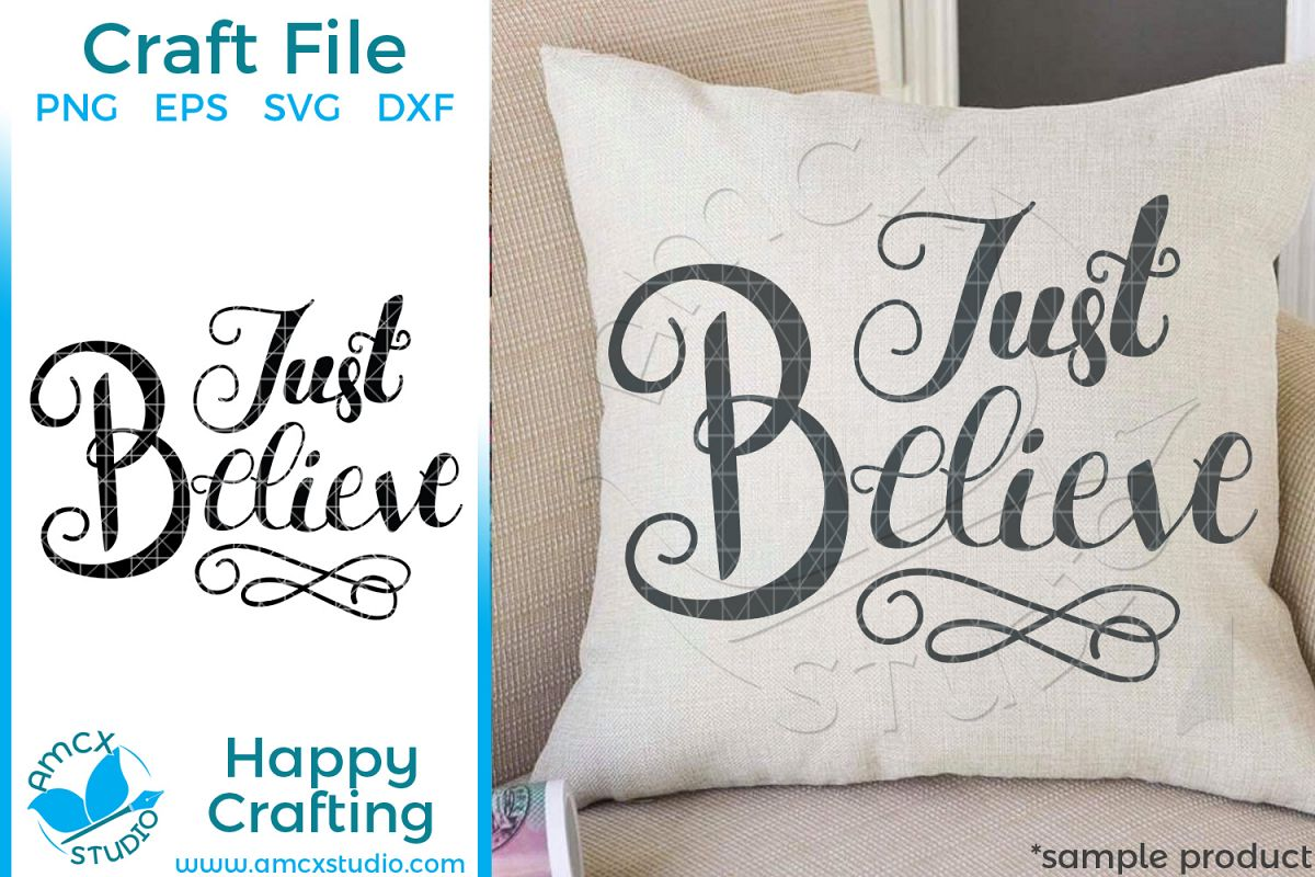 Just Believe Hand Lettered Christmas SVG Craft File example image 1