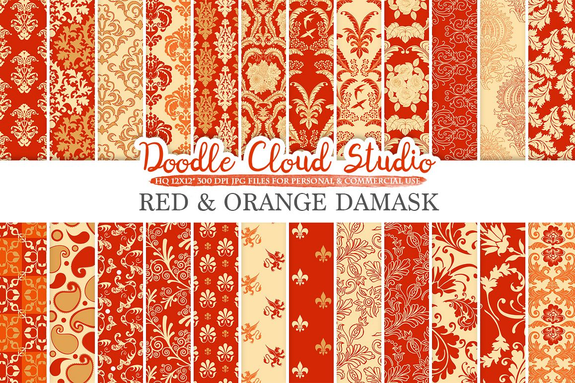 Red and Orange Damask digital paper, Swirls patterns, Digital Floral Damask, Red and Gold background for Personal & Commercial Use example image 1