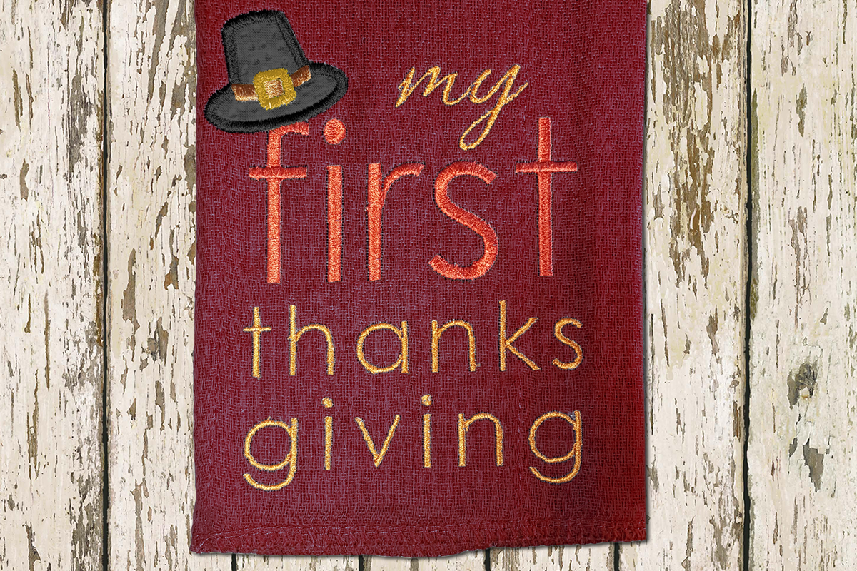 My First Thanksgiving Applique Embroidery Design example image 1