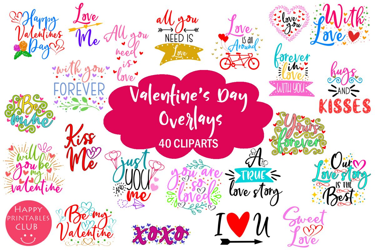 Cute Valentine's Day Overlays- Valentine Overlays Cute example image 1