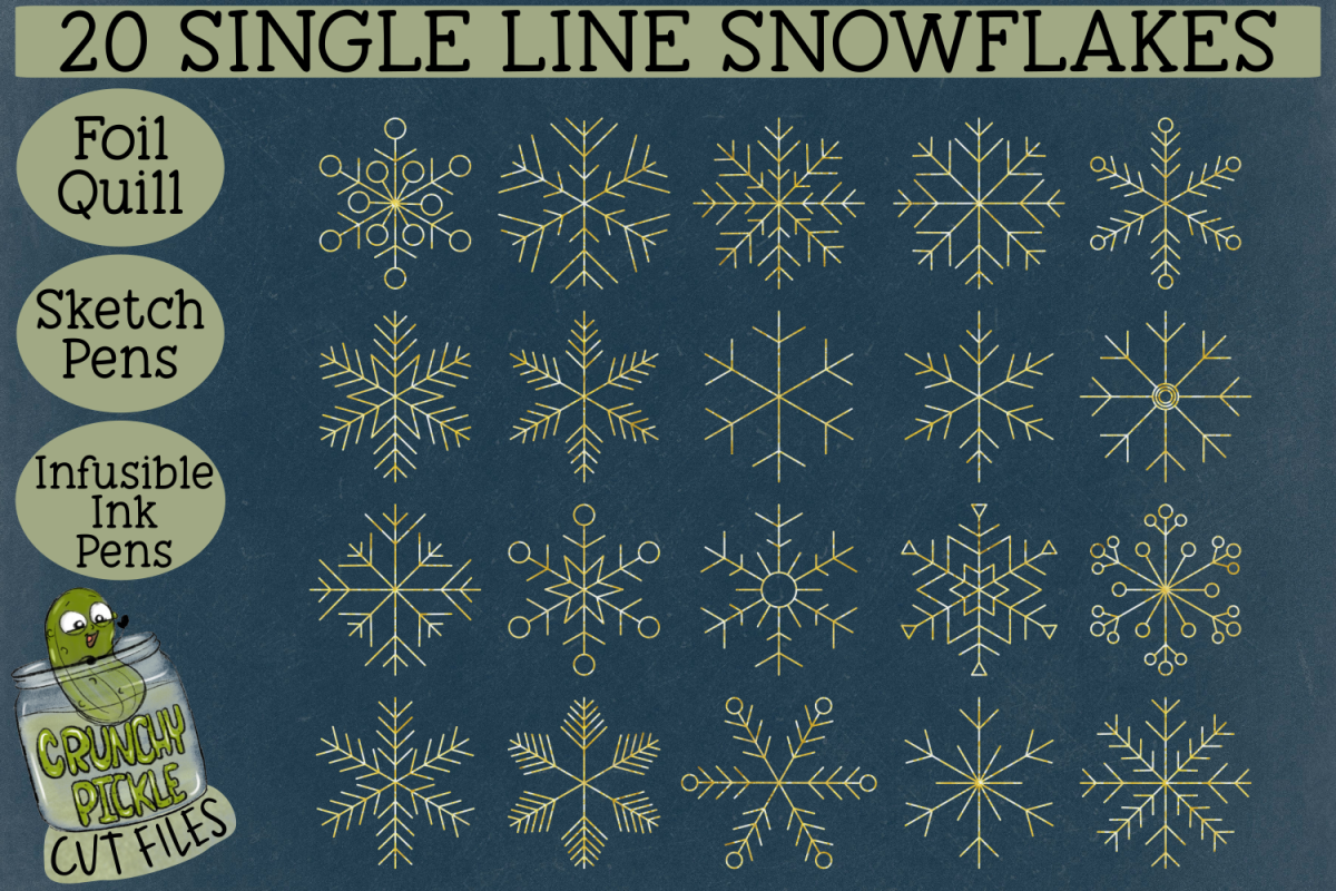 20 Foil Quill Snowflakes set 1 / Single Line Sketch SVG example image 1