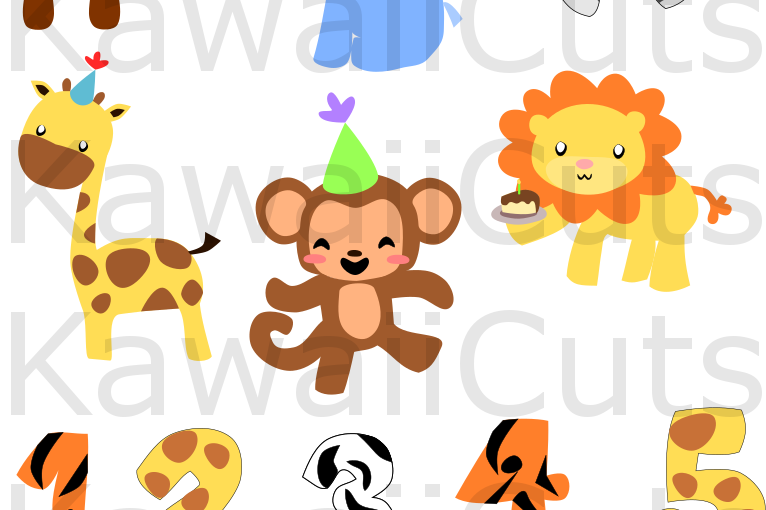 Zoo Animals Birthday Set SVG Cut File, for Cricut, cutting machines, clip art, vector,  example image 1