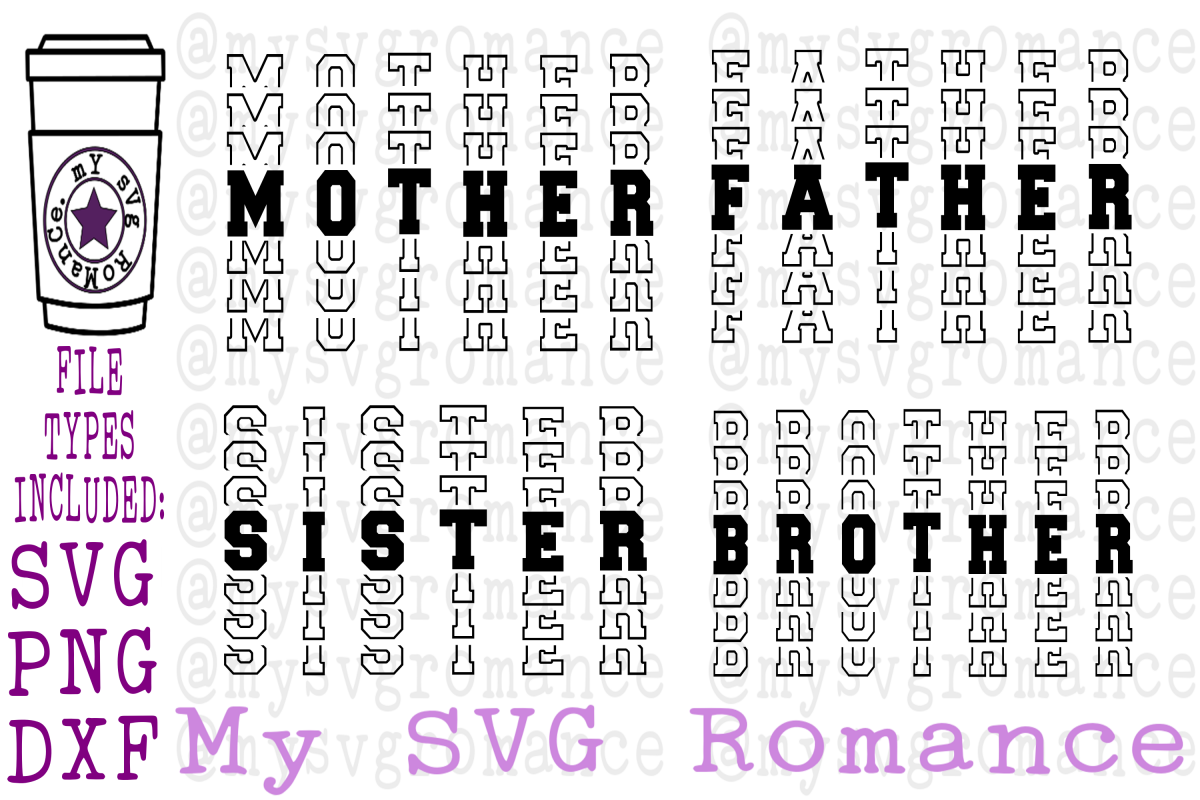 Mother Father Sister Brother Word Mirror SVG PNG DXF example image 1