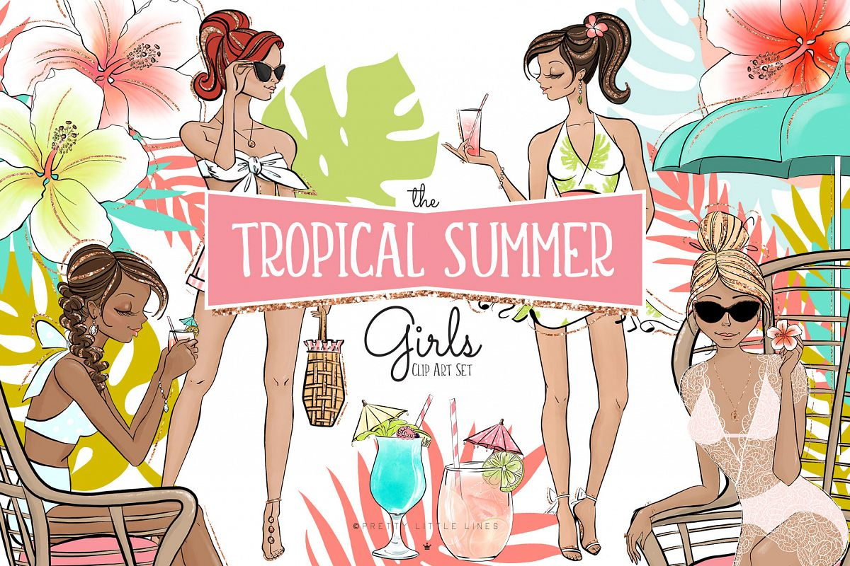 Tropical Summer Girls Clip Art example image 1