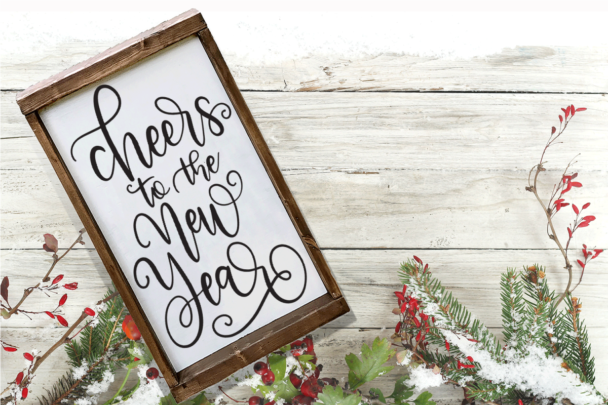 New Year SVG - Cheers to the New Year Hand-Lettered Cut File example image 1