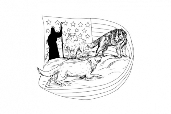 Sheepdog Defend Lamb from Wolf Drawing example image 1