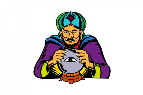 Fortune Teller With Crystal Ball Woodcut example image 1