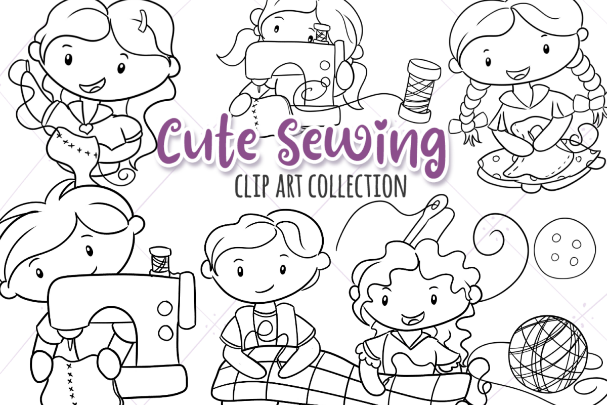 Cute Sewing Digital Stamps example image 1