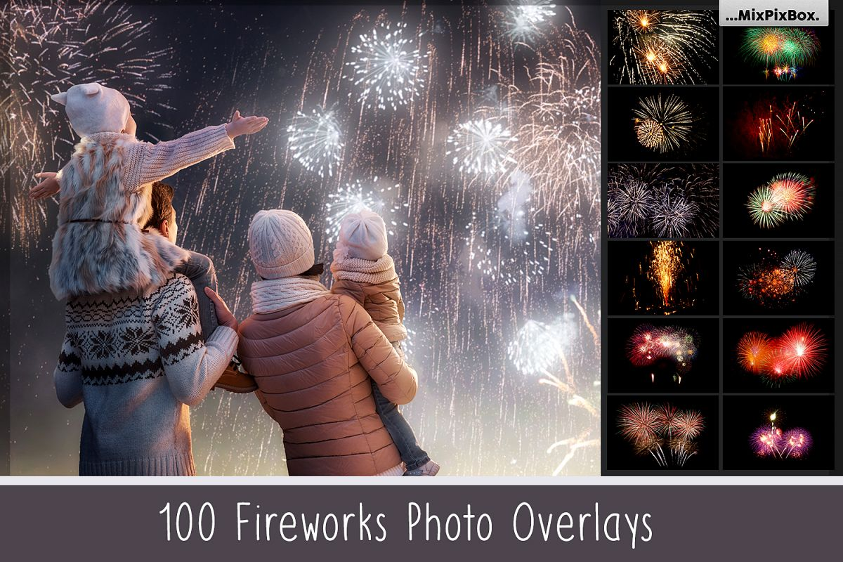 100 Fireworks Overlays example image 1