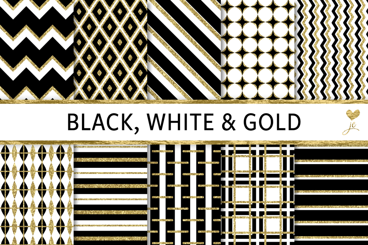 Black White and Gold Textures example image 1