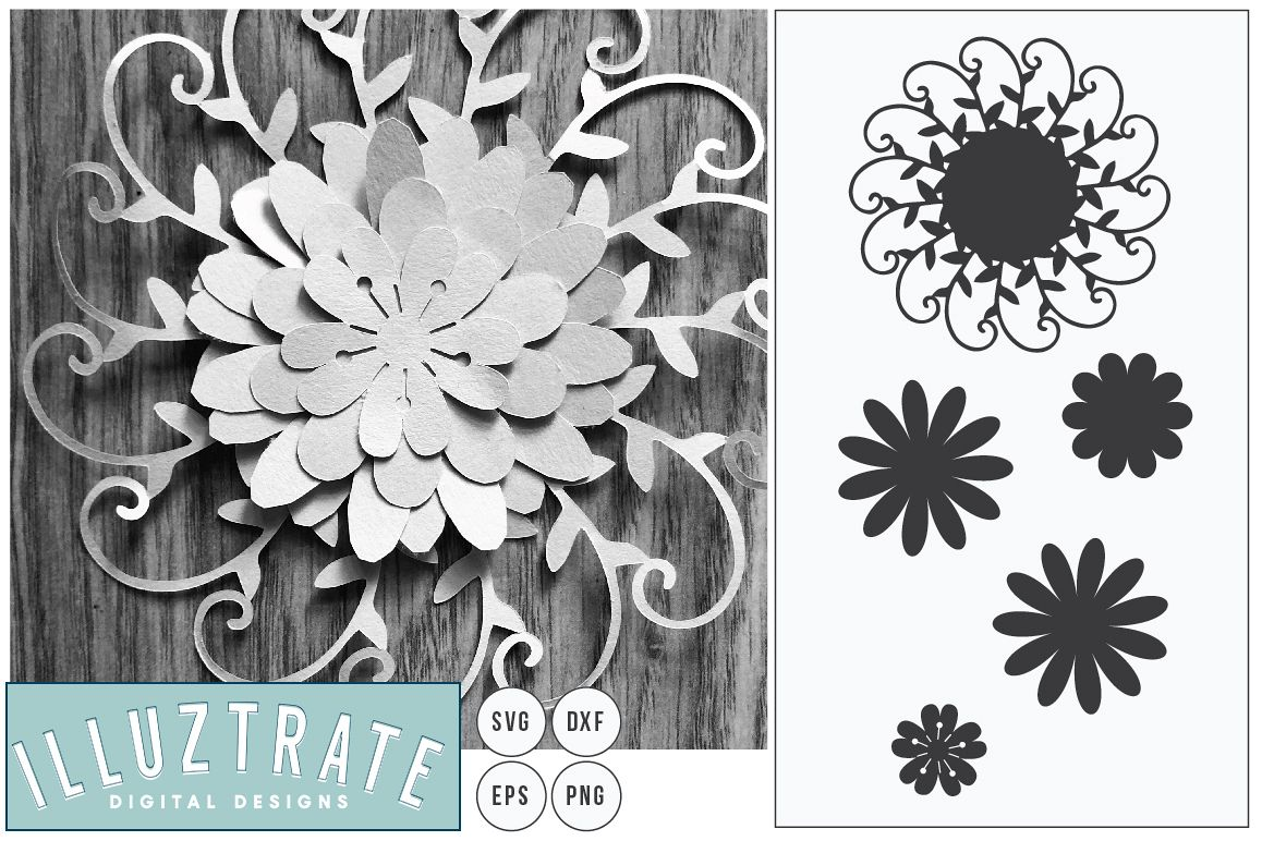Layered Flower SVG Cut File | Paper Cutting Template example image 1