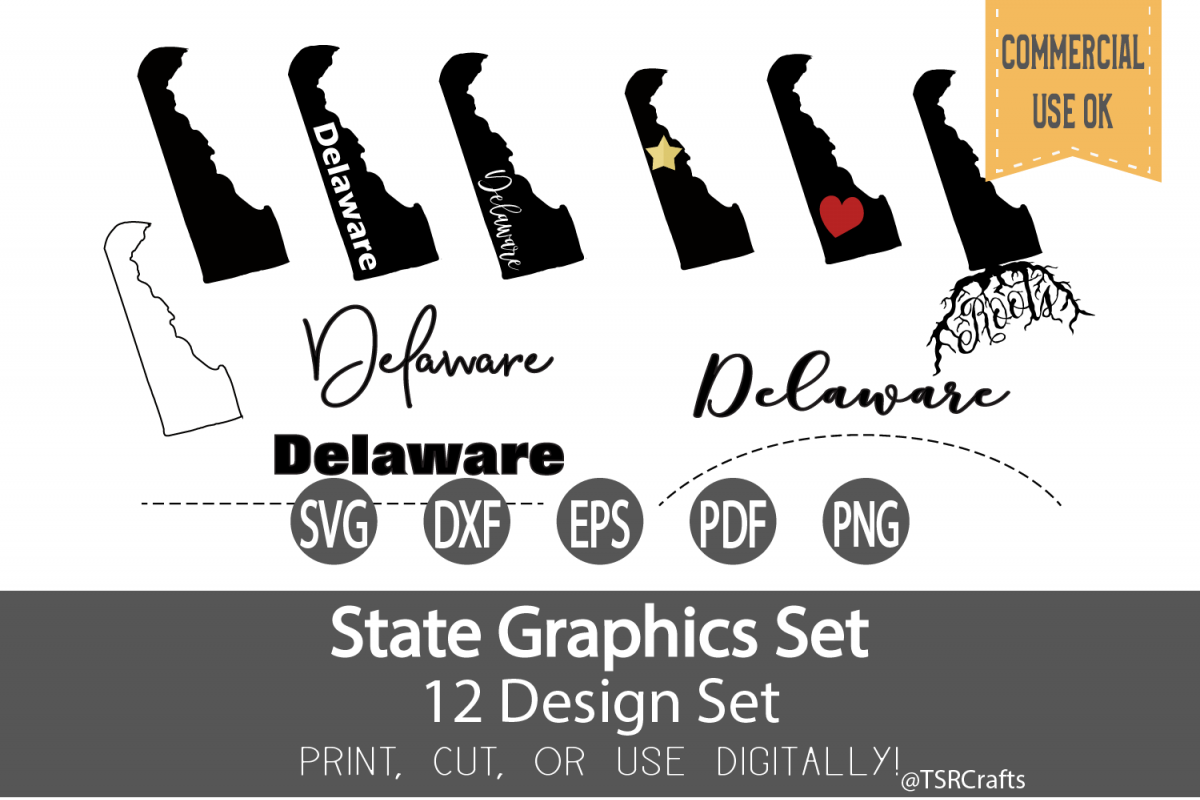 Delaware State Graphics Set - Clip Art and Digital Cut fi example image 1