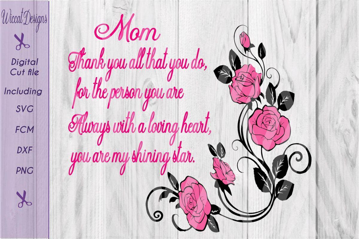 Roses, Rose stem svg, quote svg, love svg, Mom svg, mom gift example image 1