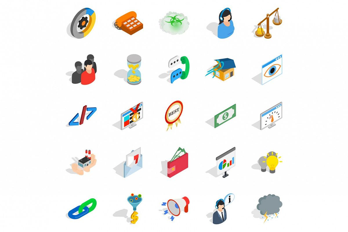 Conference center icons set, isometric style example image 1