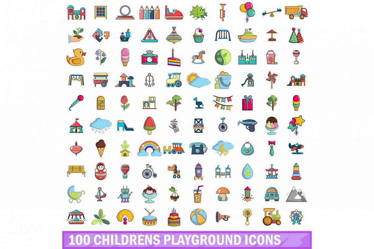 100 childrens playground icons set, cartoon style example image 1