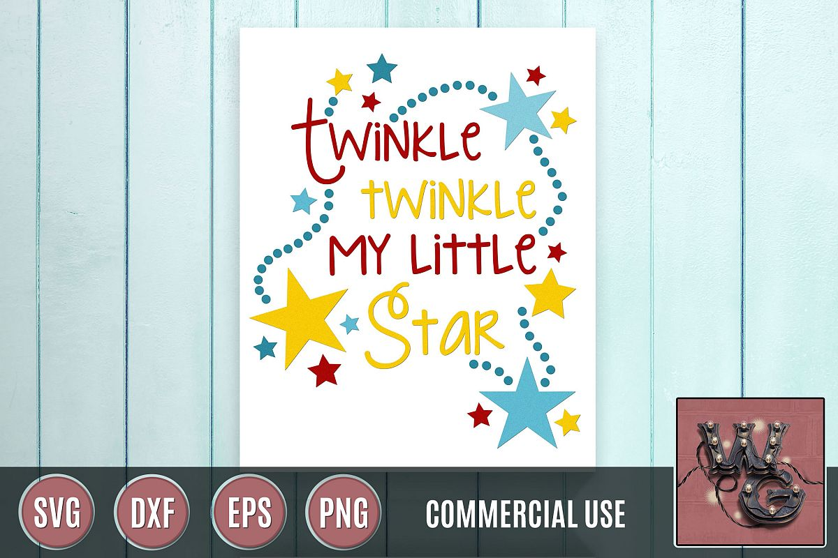 Twinkle My Little Star SVG DXF PNG EPS Comm example image 1