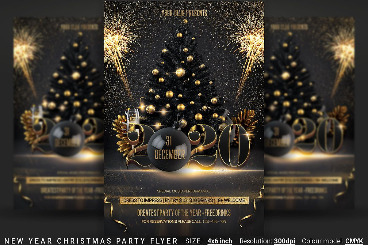 New Year Christmas Party Flyer example image 1