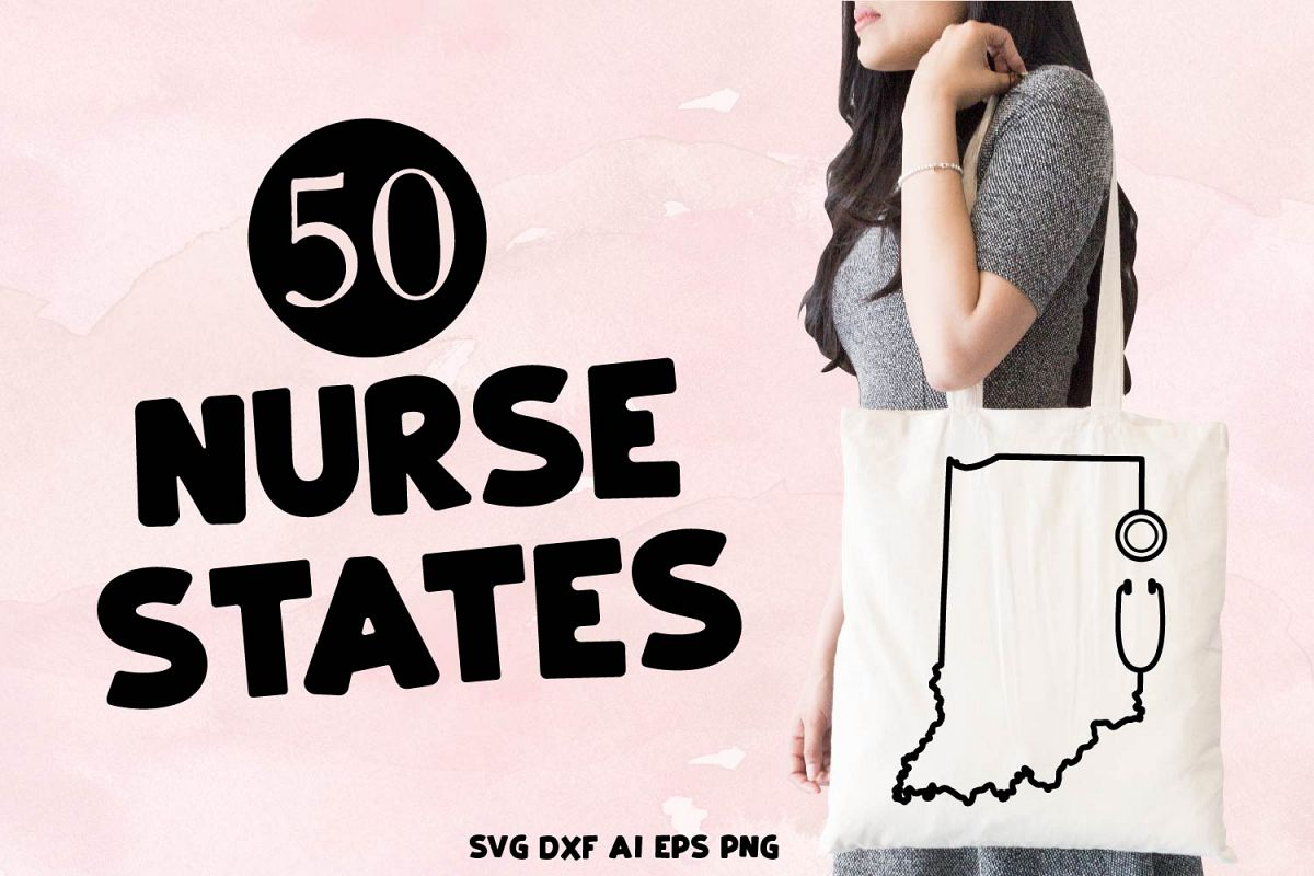 Nurse States - A Stethoscope Outlined State Bundle example image 1