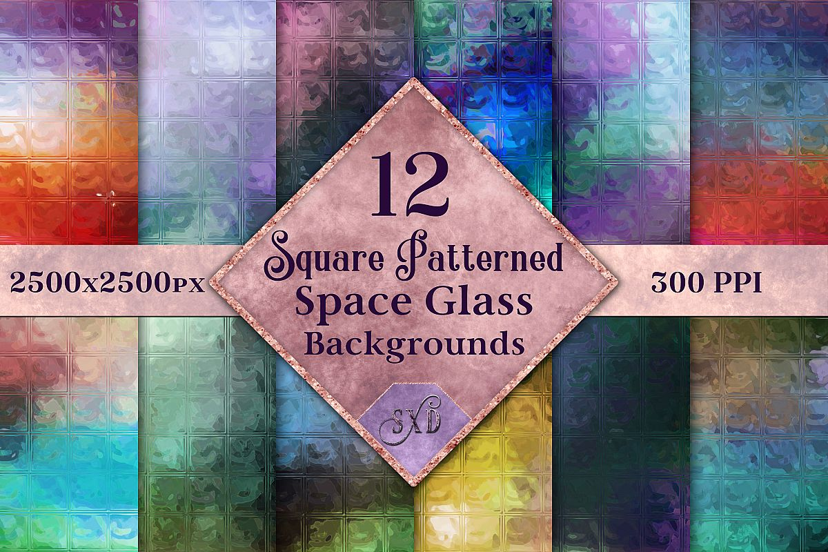 Square Patterned Space Glass Backgrounds - 12 Image Textures example image 1