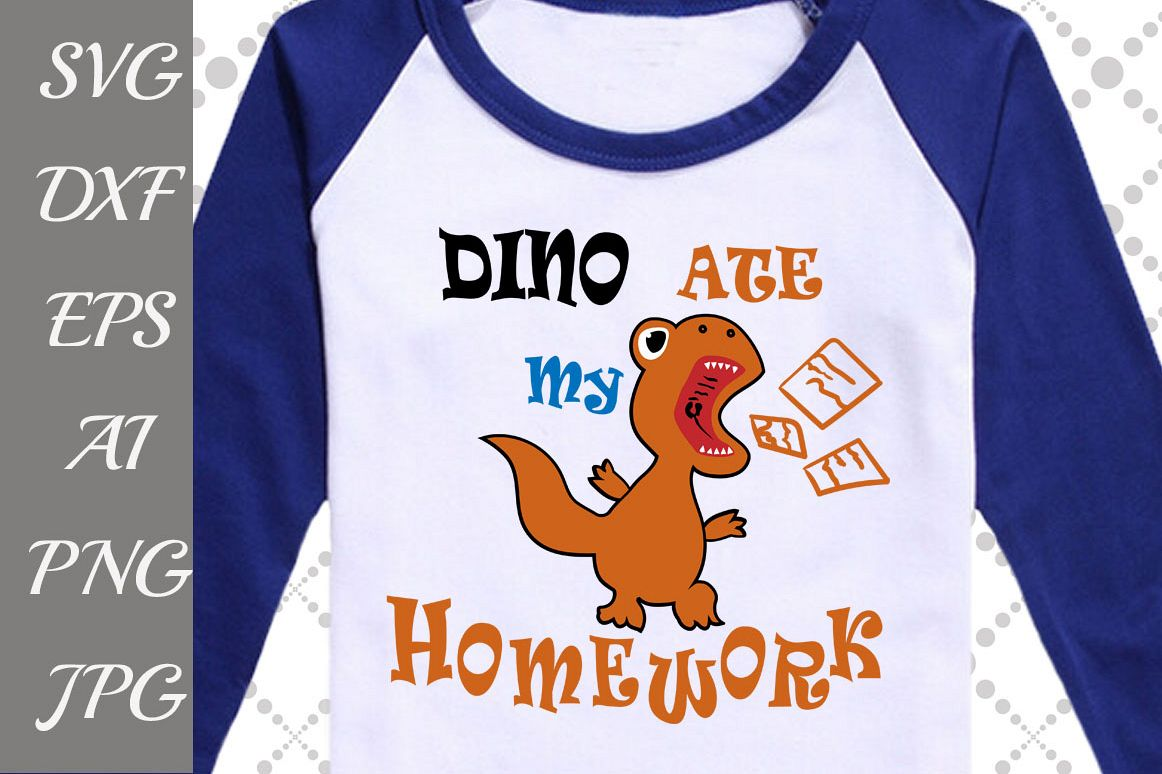 Dino Ate My Homework Svg example image 1