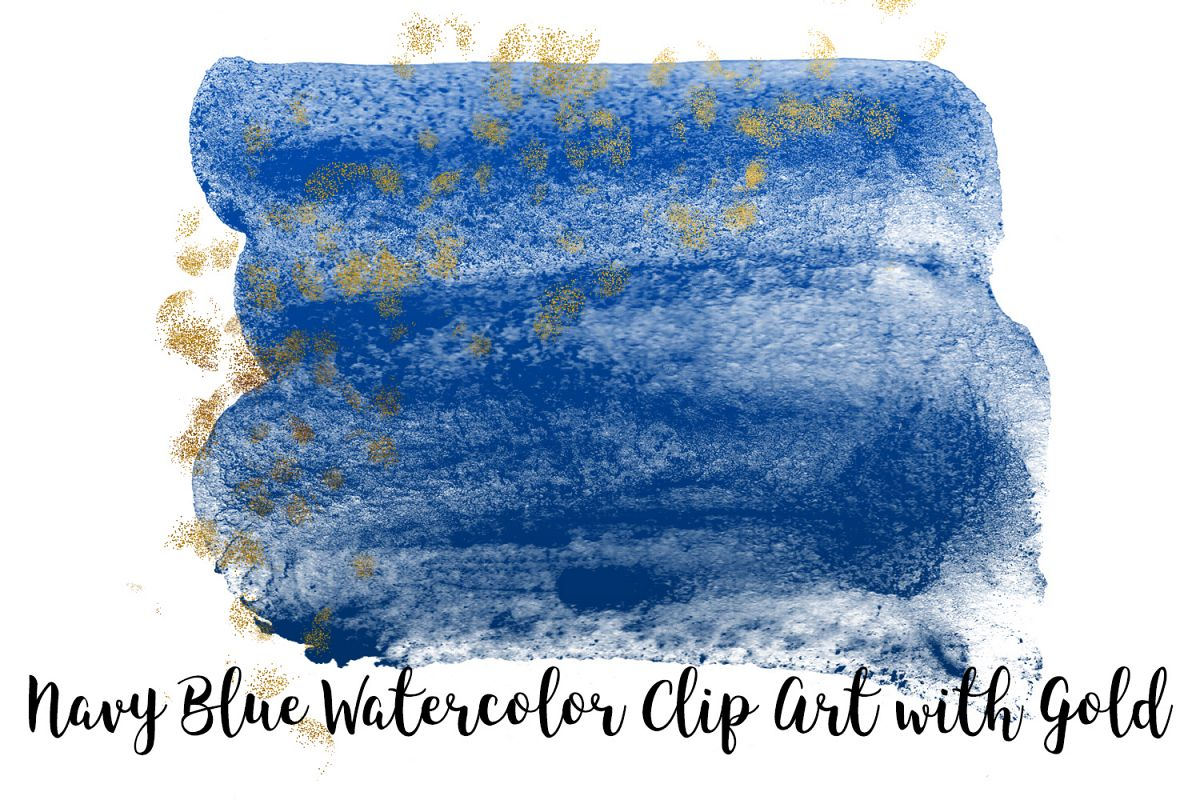 Navy Blue Watercolor Clip Art with Gold, Transparent PNG example image 1