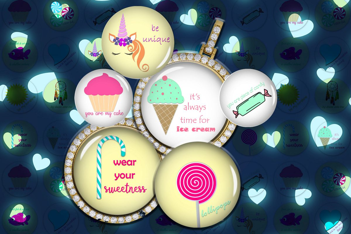 Unicorns Images,Lollipop Collage Sheet,Cakes Circle Images example image 1
