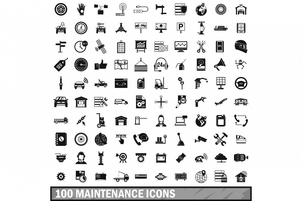 100 maintenance icons set, simple style example image 1