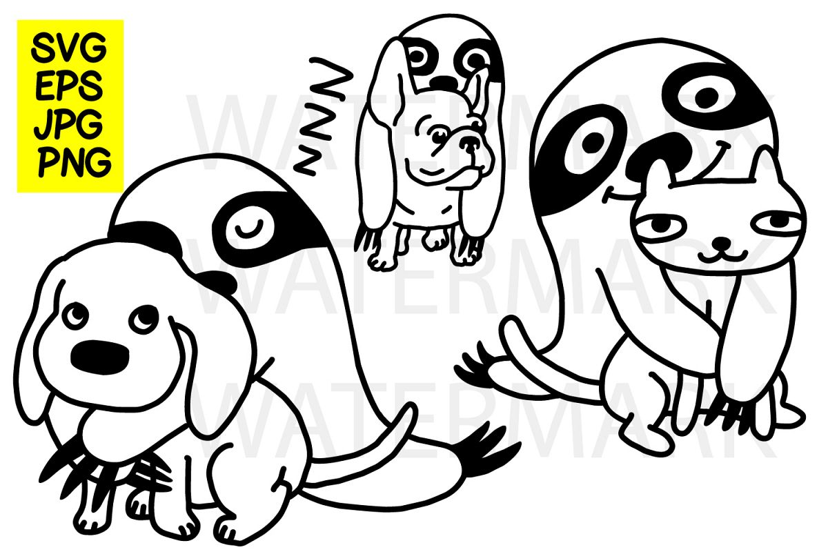 Sloth with dog cat and french bulldog- SVG-EPS-JPG-PN example image 1