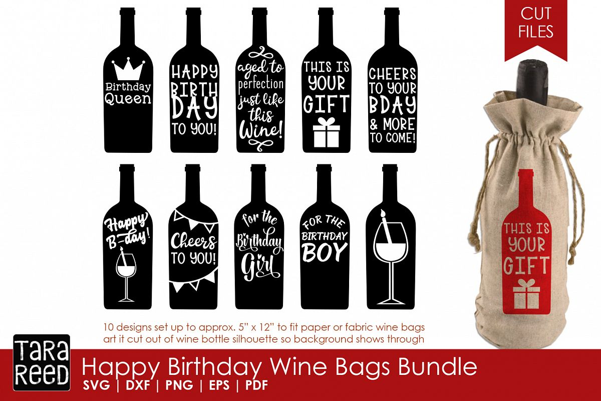 Happy Birthday Wine Bags Birthday Svg Files For Crafters