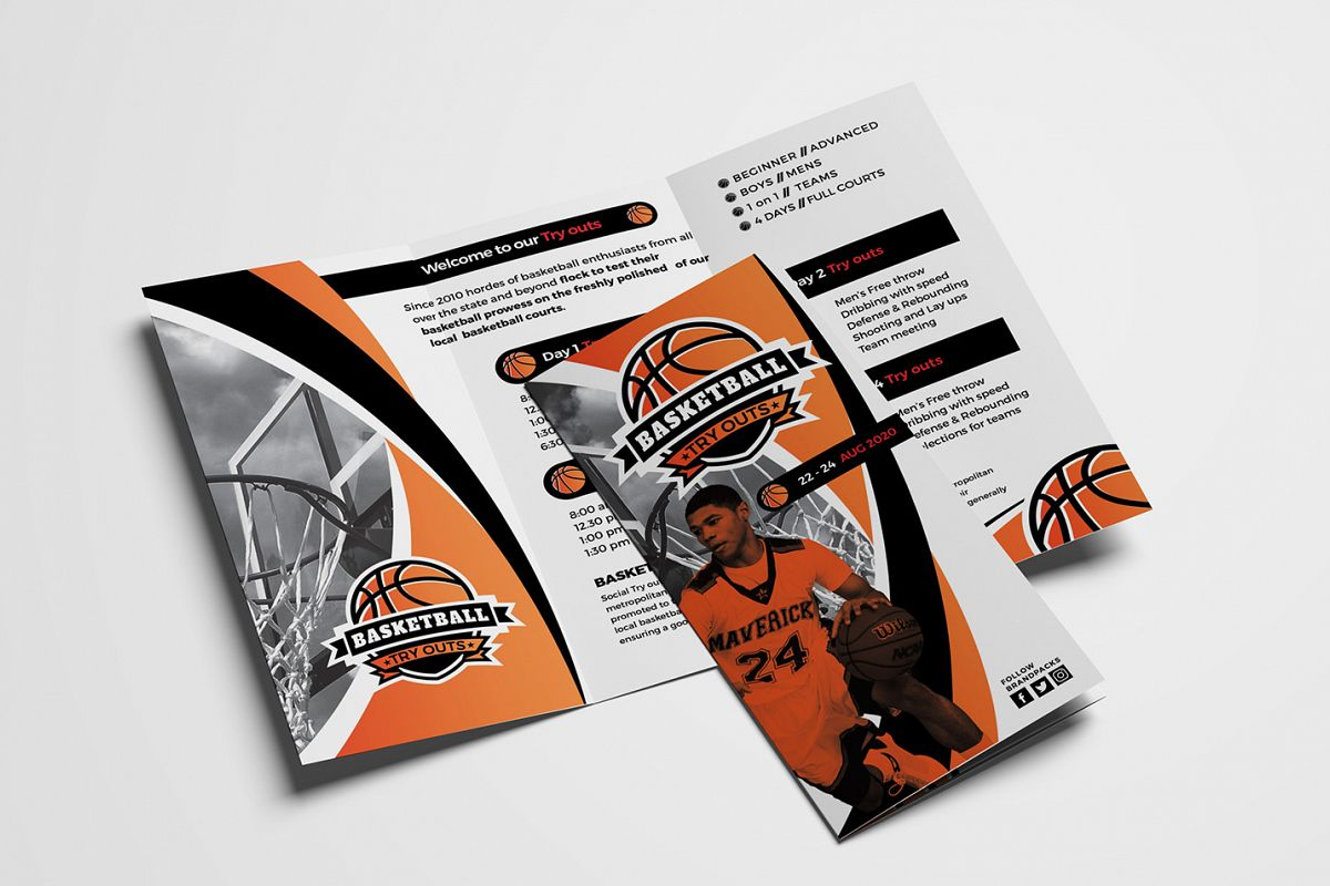 Basketball Tri-Fold Brochure Template example image 1