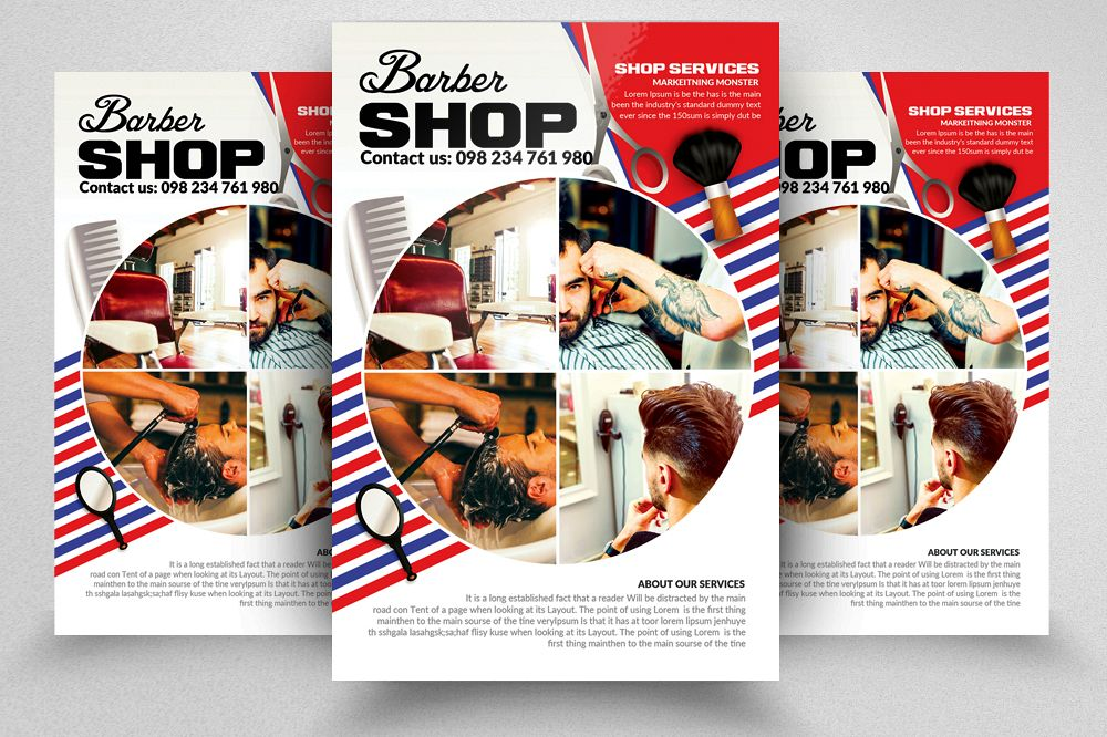 Barber Shop Psd Poster Templates example image 1