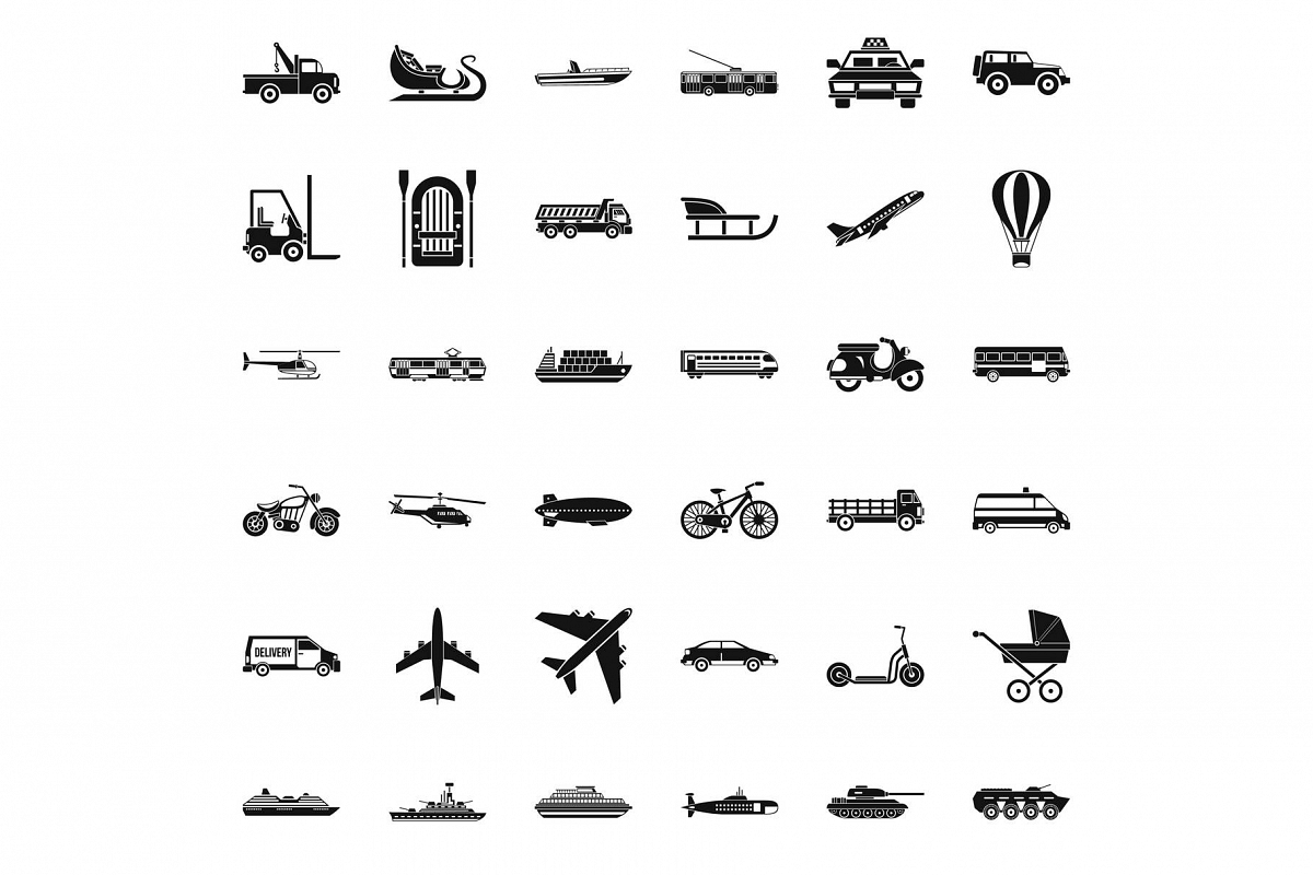 Great transport icons set, simple style example image 1