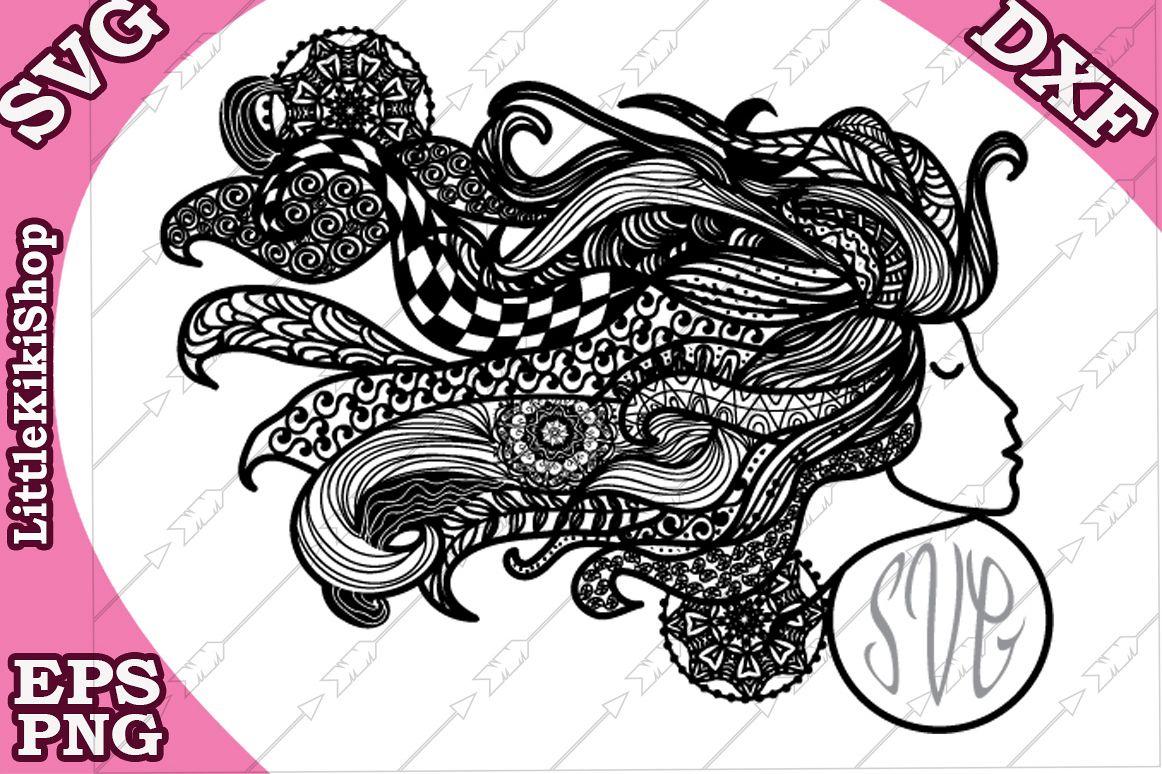 Zentangle Girl Monogram Svg, Mandala Girl Svg, Fair Girl cut example image 1